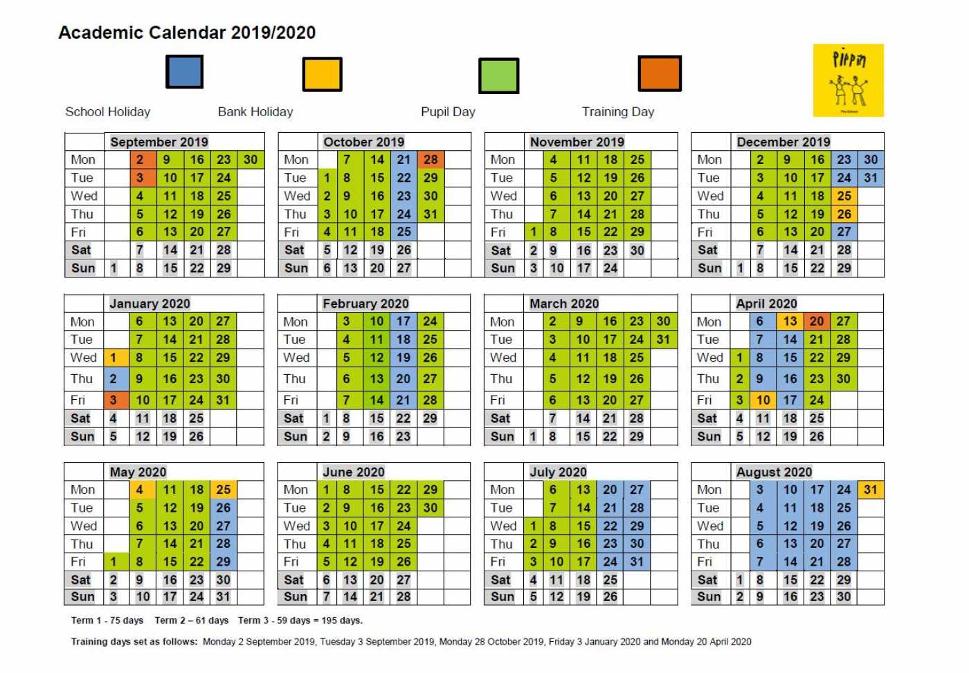 Calendar December 2019 January 2020.Academic Calendar Pippin Pre School